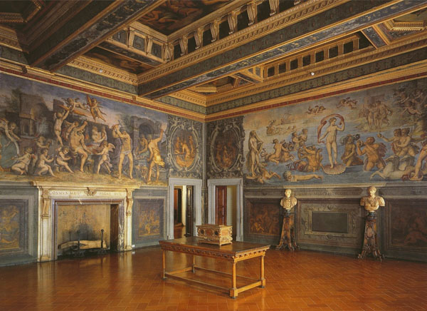 Fig. 1. Giorgio Vasari, West and South Walls, 1555-57, det. Interior view Sala degli Elementi, Palazzo Vecchio, Florence Photo credit: author