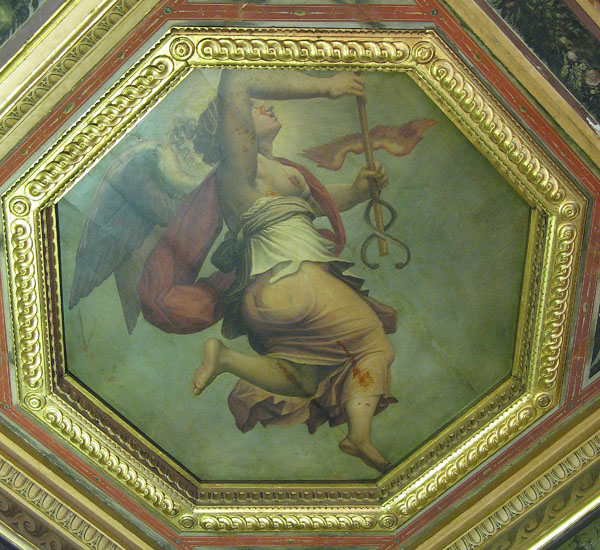 Fig. 11. Giorgio Vasari and assistants, Mercurial Justice, 1555-57 Ceiling, Sala degli Elementi, Palazzo Vecchio, Florence Photo credit: author