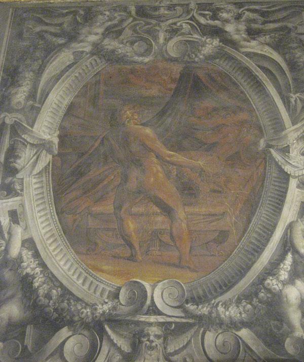 Fig. 12. Giorgio Vasari, Vulcan Discovering Venus and Mars, 1555-57 Left Cartouche, Vulcan's Forge, Sala degli Elementi,  Palazzo Vecchio, Florence Photo credit: author
