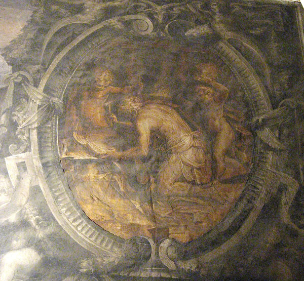 Fig. 13. Giorgio Vasari, Vulcan (Daedalus) Creating a Shield for Achilles, 1555-57 Right Cartouche, Vulcan's Forge, Sala degli Elementi,  Palazzo Vecchio, Florence Photo credit: author