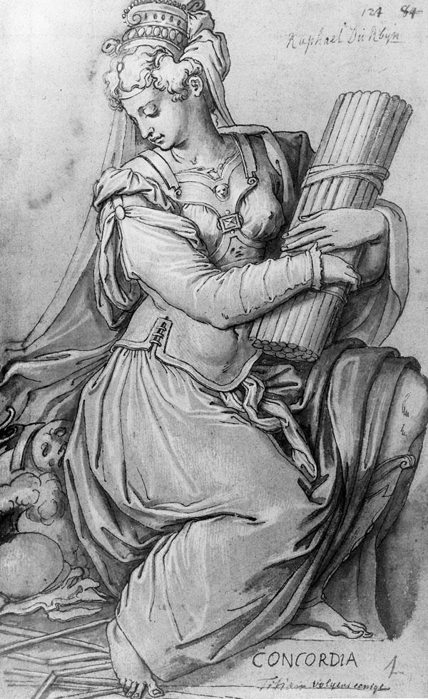 Fig. 19.  Giorgio Vasari, Concord (Concordia) 1544-45 Drawing (GS 9629), Museumslandschaft Hessen (Staatliche Kunstsammlungen), Kassel Photo credit: Courtesy of the Museumslandschaft Hessen, Kassel http://handzeichnungen.museum-kassel.de/katalog/16_jahrhundert/toskana/gs_9629