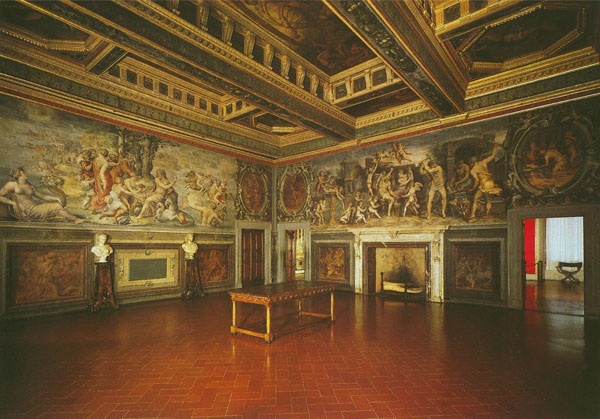 Fig. 2. Giorgio Vasari, West and North Walls, 1555-57, det. Interior view Sala degli Elementi, Palazzo Vecchio, Florence Photo credit: author