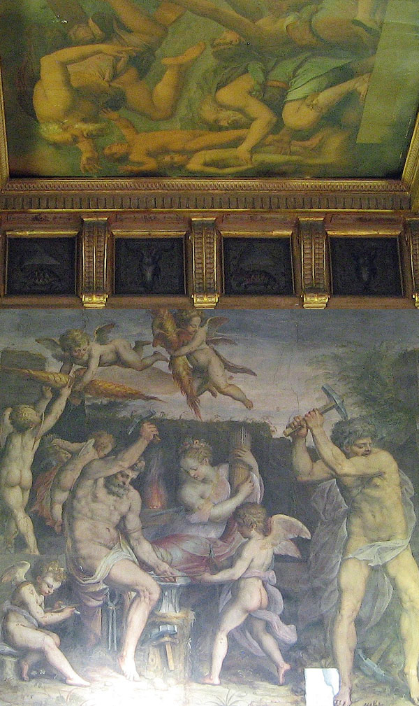 Fig. 20. Giorgio Vasari, Vulcan's Forge and Saturn Mutilating Heaven, 1555-5, det. Sala degli Elementi, Palazzo Vecchio, Florence Photo credit: author