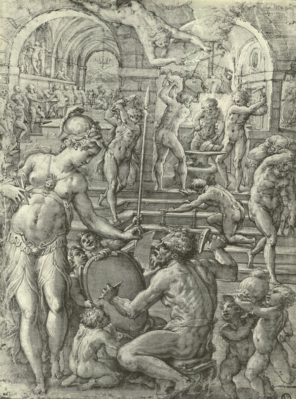 Fig 22. Giorgio Vasari, Vulcan's Forge 1565, drawing Cabinet des Dessins, Musée du Louvre, Paris Photo credit: Courtesy Musée du Louvre, Paris