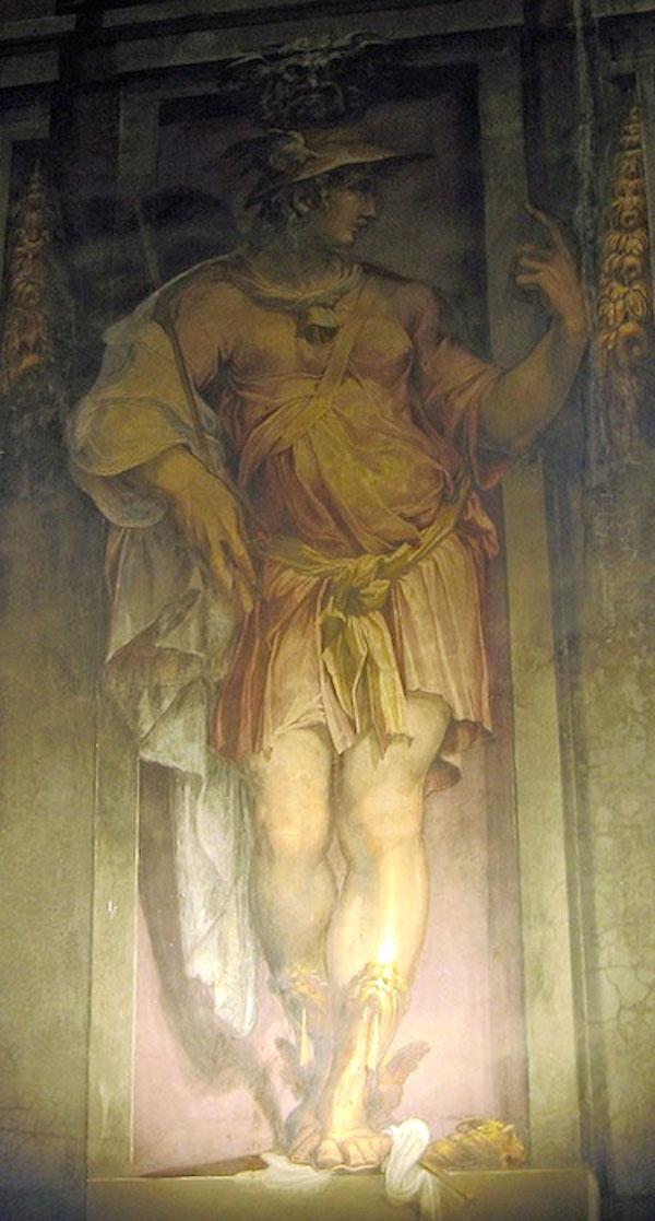 Fig. 24. Giorgio Vasari, Mercury, 1555-57, det East Wall, Sala degli Elementi, Palazzo Vecchio, Florence Photo credit: author