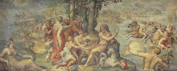 Fig. 5. Giorgio Vasari, The First Fruits of the Earth Offered to Saturn  (Element of Earth), 1555-57 North Wall, Sala degli Elementi, Palazzo Vecchio Photo credit: author