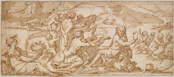 Fig. 5A. Giorgio Vasari, The First Fruits of the Earth Offered to Saturn (Element of Earth), 1555-57, drawing Metropolitan Museum of Art, New York, Roger Fund, 1971 (1971.273) Photo credit: Courtesy of the Metropolitan Museum of Art, New York Roger Fund (1971.273)