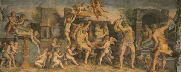 Fig. 7. Giorgio Vasari, Vulcan's Forge (Element of Fire), 1555-57 West Wall, Sala degli Elementi, Palazzo Vecchio, Florence Photo credit: author