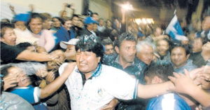 Fig. 3 - Prima elezione di Evo Morales alla Presidenza della Bolivia (22 gennaio 2006)