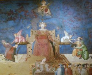 Fig. 3. Ambrogio Lorenzetti, Justice, Allegory of Good Government, det., 1340, Palazzo Pubblico, Siena