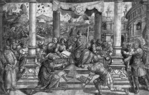Fig. 5. Bernard van Orley, Romulus Given the Laws to the Romans, 1524, Staatliche Graphisce Sammlung München
