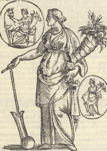 Fig. 7. Vincenzo Cartari, Fortuna, engraving from Imagine degli Dei de Gl'Antichi. [Venice] 1576 reissued in 1647 [Nuova Stile Regina, Genoa], p. 238