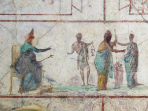 Fig.3 Roman, 'Cultic scene' 30-20 BC, Fresco from columbarium Villa Doria Pamphilj Rome, Musée National Romain, Palazzo Massimo alle Terme, Rome. Photo: MM, https://commons.wikimedia.org/wiki/File:MNR-PalMassimo-ColombarioVillaDoriaPamphilj_04.JPG