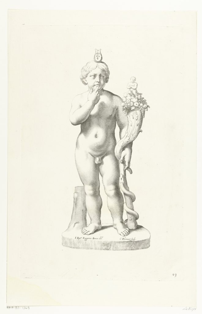 Fig. 5. Cornelis Bloemaert (after Giovanni Battista Ruggieri), 'Harpocrates', ca.1636, engraving, 36,7 x 23,7 cm. Rijksmuseum, Amsterdam. http://hdl.handle.net/10934/RM0001.collect.81419