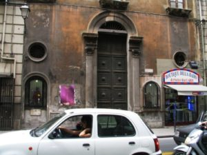 Fig. 12. Two edicole votive with Man of Sorrows, at left and Maria Addolorata, at right, on via Maqueda in downtown Palermo, Sicily.