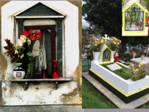 "Fig. 4. At left, edicola votiva of Our Lady in the San Isidro District, outside Palermo, located just above eye level, on the street. At right, cemetery gravesite near Xalapa, Veracruz, prepared for ""Days of the Dead"" celebrations."