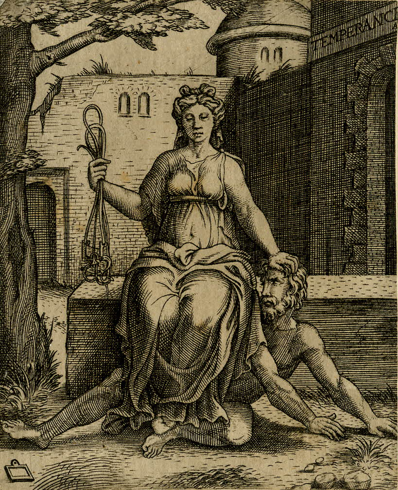 """Temperancia"", engraving after Marcantonio Raimondi, 1510-1550"