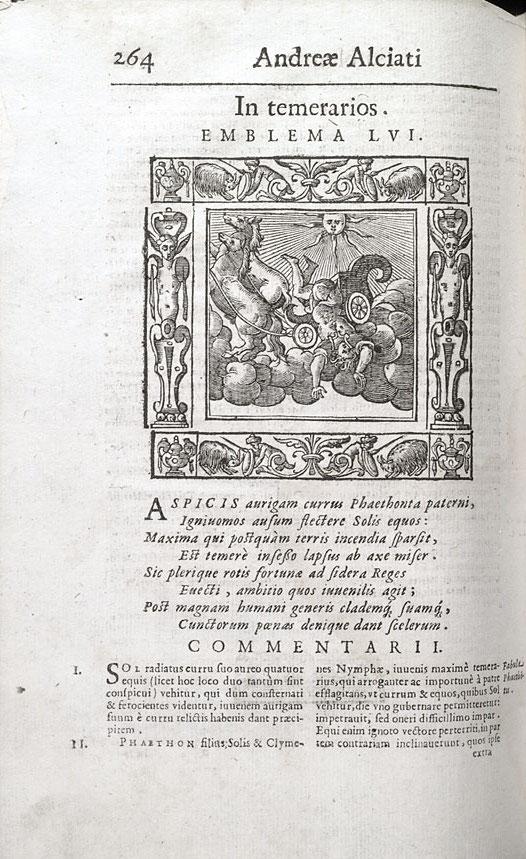 "Andrea Alciato, Emblemata, Padua, Petro Paulo Tozzi, 1621, ""In temerarios"", r4v – p. 263"