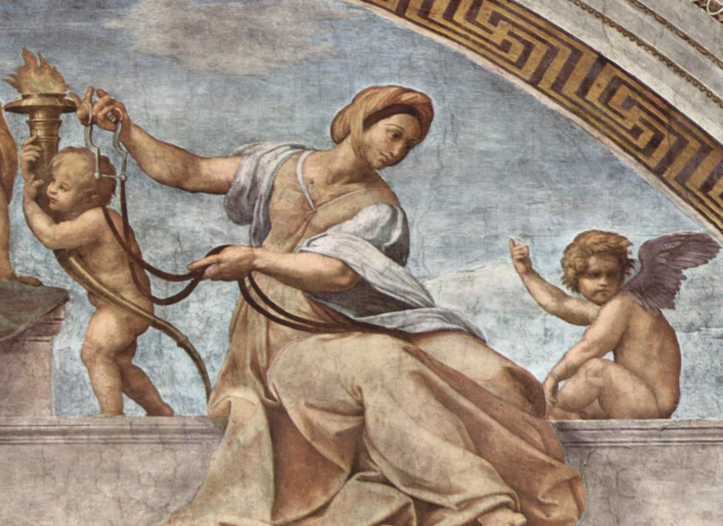 Raffaello Sanzio, Allegory of Temperance (detail from Cardinal and Theological Virtues), fresco, 1511, Stanze della Segnatura, Palazzi Vaticani