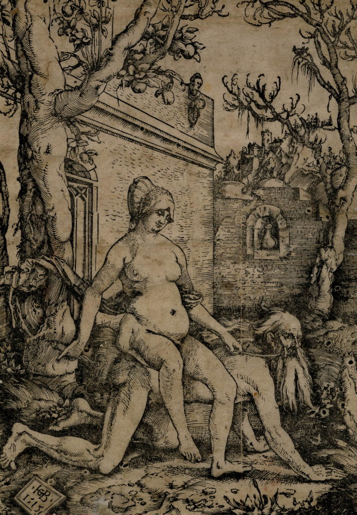 "Baldung Grien, ""Aristotle and Phyllis"" (1515), Germanisches Nationalmuseum, Nuremberg, print (woodcut)"