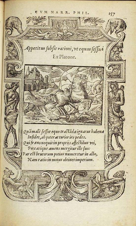 """Pierre Cousteau, Pegma, Lyons, Macé Bonhomme, 1555, """"Appetitus subsit rationi, ut equus sessori"""" K7r – p. 157"""