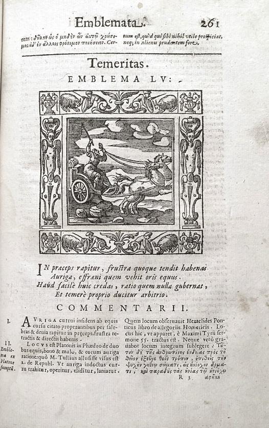 "Andrea Alciato, Emblemata, Padua, Petro Paulo Tozzi, 1621, ""Temeritas"", r3r – p. 261"